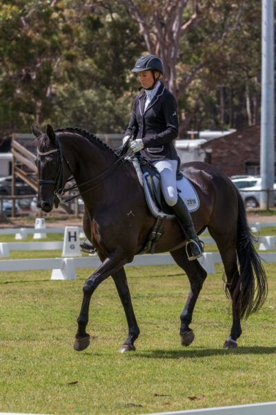 Anke Hawke riding Georgie Girl at a competition
