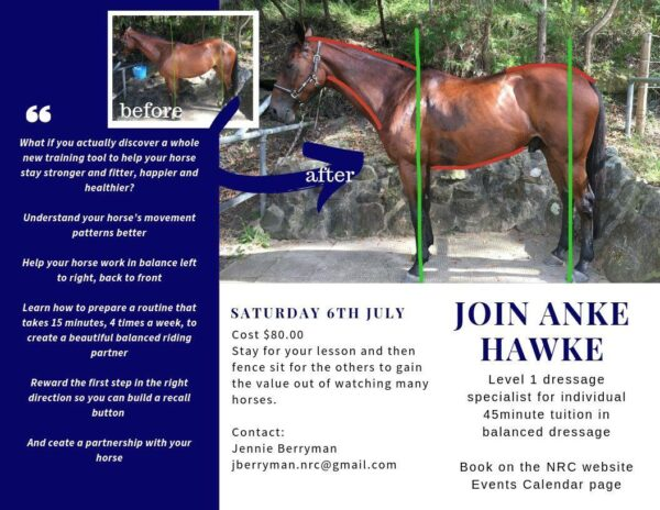 Anke Hawke Balanced Dressage Clinic on Saturday July 6th 2019 at Northside Riding Club, St Ives Showground